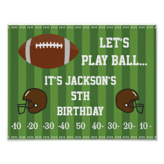 Football Party Sign with Field Background