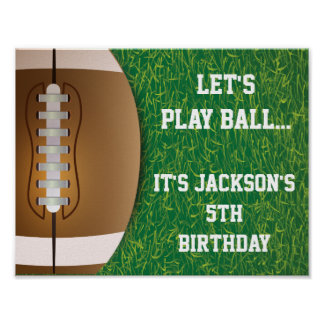 Football Party Sign with Grass Background