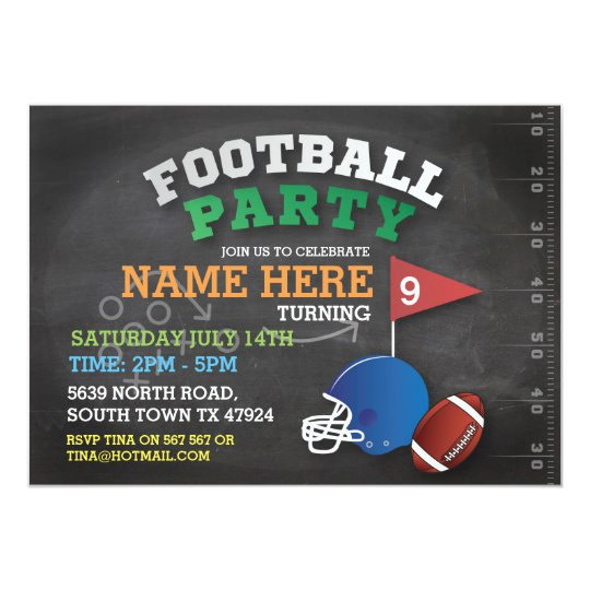 Football Party Sports Invite Birthday Invitation Zazzle Com