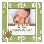"Football Photo Birth Announcement Cards 5.25"" Square Invitation Card"