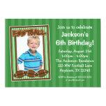 Football Photo Birthday Party Green Invitations