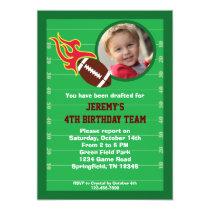 """Football Photo Birthday Party Invitation 5"""" X 7"""" Invitation Card"""