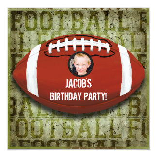 Football Photo Birthday Party Vintage Green Grunge 5.25x5.25 Square Paper Invitation Card