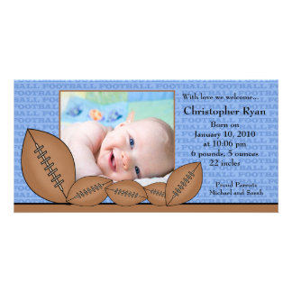 Football PHOTO  Boy Birth Announcement Photo Card