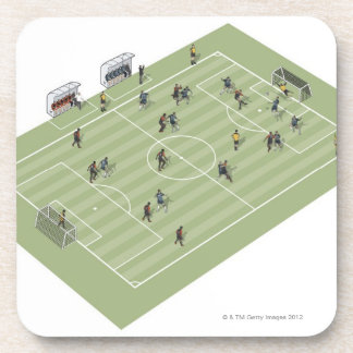 Football pitch beverage coaster