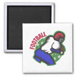 Football Player 2 Inch Square Magnet