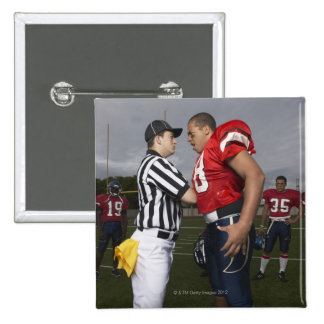 Football Player Arguing with Referee 2 Inch Square Button