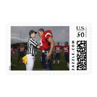 Football Player Arguing with Referee Postage