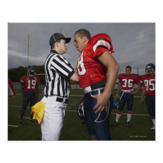 Football Player Arguing with Referee Poster