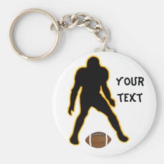 football player basic round button keychain