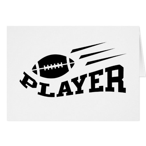 Football player black on white with bouncing ball greeting card