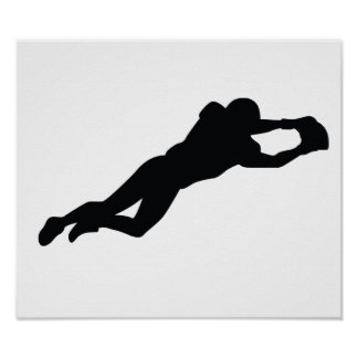 Football Player Black Silhouette Poster