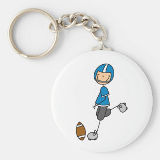 Football  Player Blue T-shirts and Gifts Basic Round Button Keychain