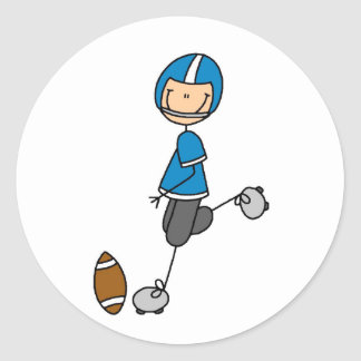 Football  Player Blue T-shirts and Gifts Classic Round Sticker