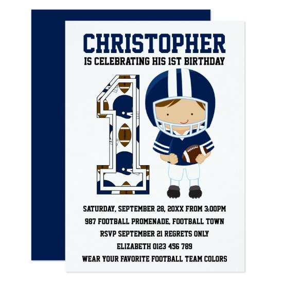 Football Player Blue White 1st Birthday Party Invitation