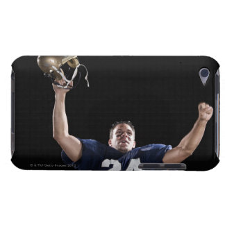 Football player celebrating iPod touch covers