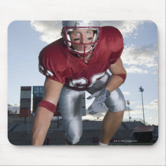 Football player in game stance mouse pad