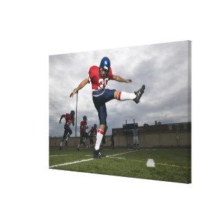 Football Player Kicking Football 2 Canvas Print