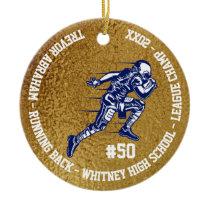 Football Player Monogram Team School Faux Gold Ceramic Ornament