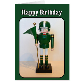 Football Player Nutcracker Happy Birthday Greeting Card