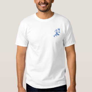 Football Player Outline Embroidered T-Shirt