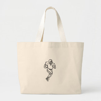 Football Player Outline Large Tote Bag