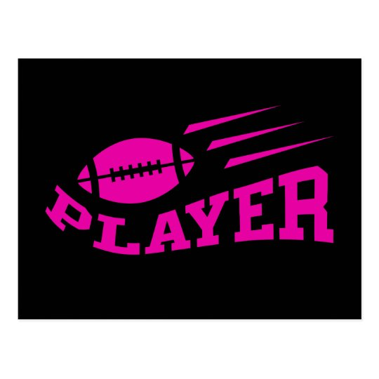 Football player pink on black with bouncing ball postcard