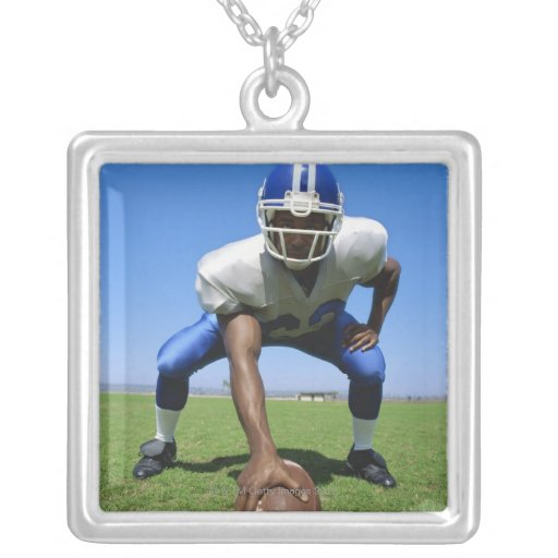 football player playing on a football field custom necklace