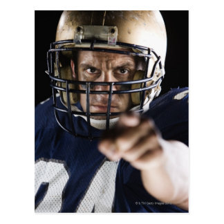 Football player pointing and looking intense postcard