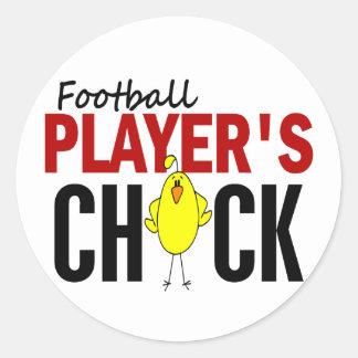 Football Player's Chick Round Sticker
