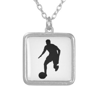 Football Player Silver Plated Necklace