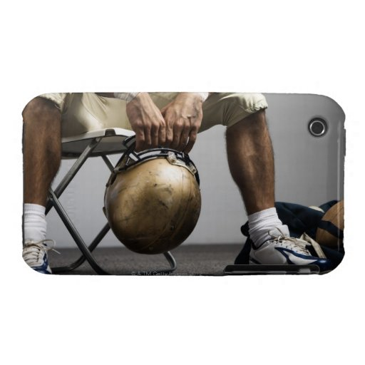 Football player sitting in locker room iPhone 3 Case-Mate case