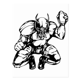 Football Player With Horns Postcard