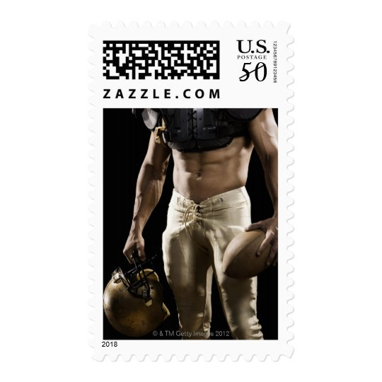 Football player with protective gear, football, postage