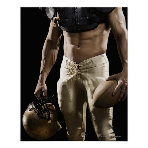 Football player with protective gear, football, poster