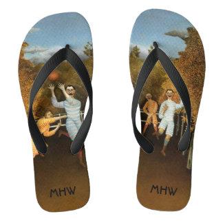 """Football Players"" custom monogram art sandals Flip Flops"