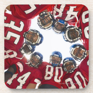 Football Players in Huddle Beverage Coaster