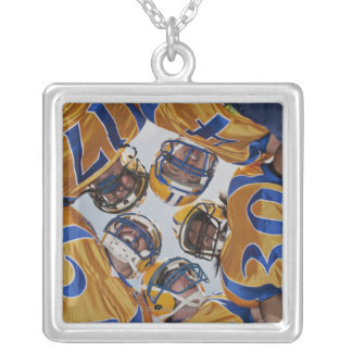 Football players in huddle silver plated necklace