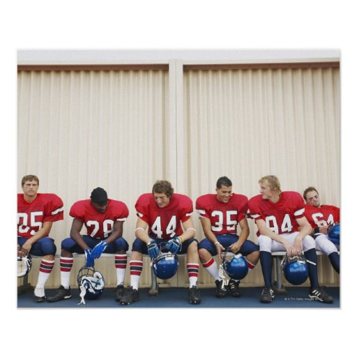 Football Players on Bench Poster