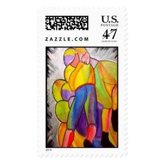 Football Players Postage Stamp