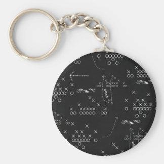 Football plays basic round button keychain