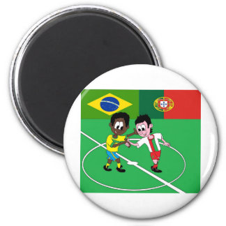 """FOOTBALL PORTUGAL BRAZIL """"RESPECT """" 2 INCH ROUND MAGNET"""
