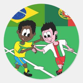 "FOOTBALL PORTUGAL BRAZIL ""RESPECT "" CLASSIC ROUND STICKER"