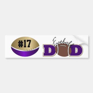 Football Purple and Gold  Bumper Sticker - SRF