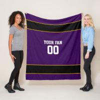 Football Purple & Black Personalized Fleece Blanket