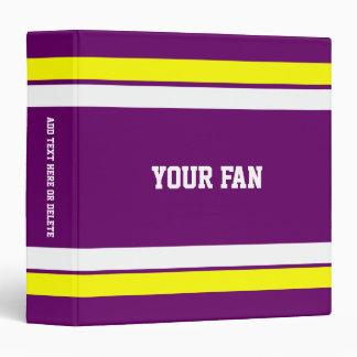 Football Purple, Gold & White Personalized Binder