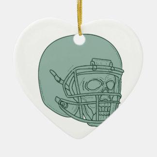 Football Quarterback Skull Drawing Ceramic Ornament