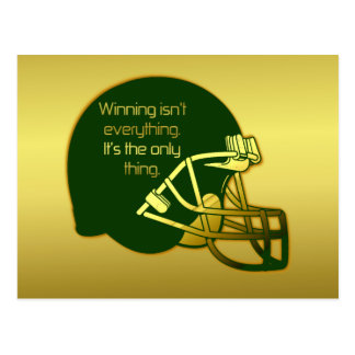 Football Quote in Green: Winning Is the Only Thing Postcard