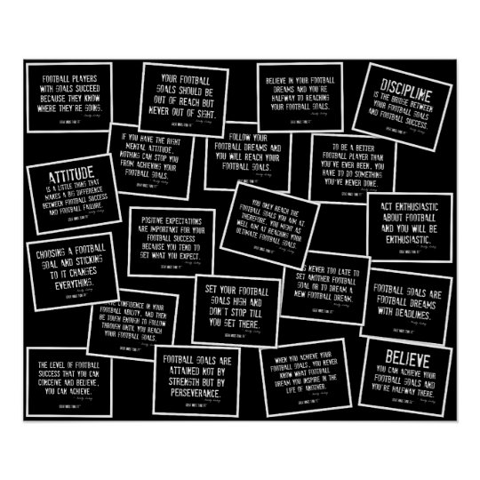 Football Quotes Collage in Black and White Poster