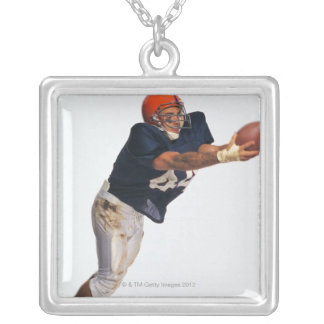 Football receiver catching ball 2 square pendant necklace